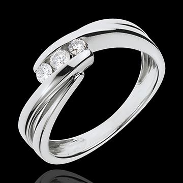 Anello trilogia Nido Prezioso - Ritornello - Oro bianco - 18 carati - 3 Diamanti - 0.21 carati