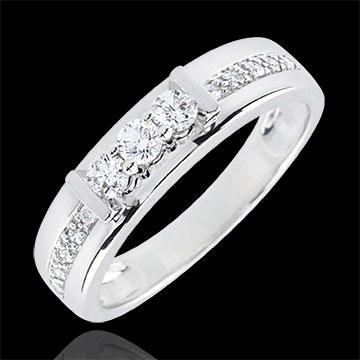 Anello Trilogy Hérine - Oro bianco - 9 carati - 13 Diamanti - 0.24 carati