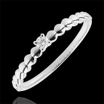Anello Solitario Bonbon d'Oro - Oro bianco - 9 carati - Diamante