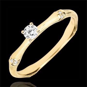 Anello di fidanzamento Giungla Sacra - diamante 0.09 carati - oro giallo spazzolato 18 carati