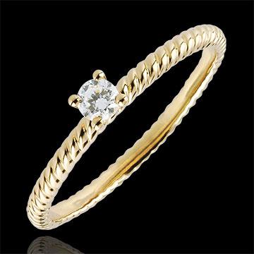 Anello Solitario Fune d'Oro - Oro giallo - 9 carati - Diamante