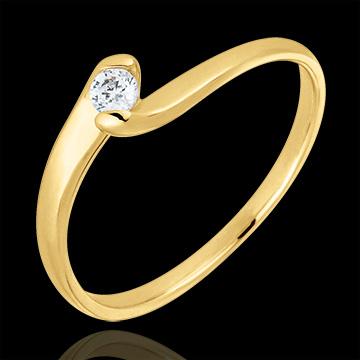 Anello solitario Nido Prezioso - Passione Eterna - Oro giallo - 9 carati - Diamante