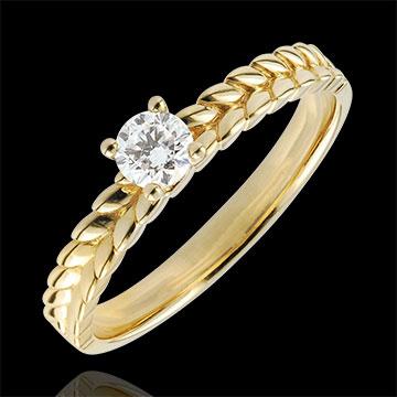 Anello Giardino Incantato - Solitario Treccia - Oro giallo - 18 carati - Diamante