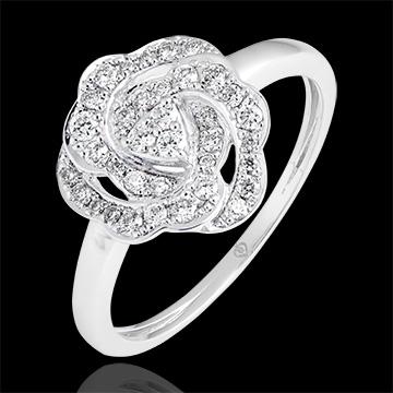 Anello di fidanzamento Freschezza - Nina - oro bianco 9 carati e diamanti