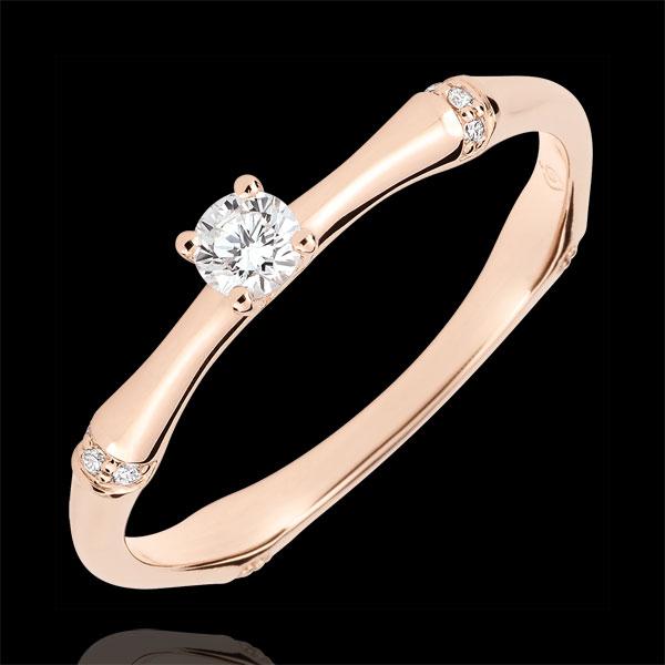 Anello di fidanzamento Giungla Sacra - diamante 0.09 carati - oro rosa 9 carati