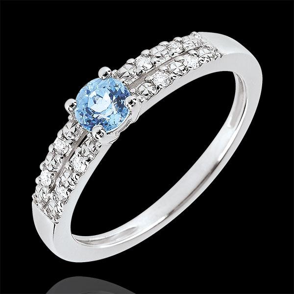 Anello di Fidanzamento Margot - Topazio 0.3 carati e Diamanti- Oro bianco 18 carati