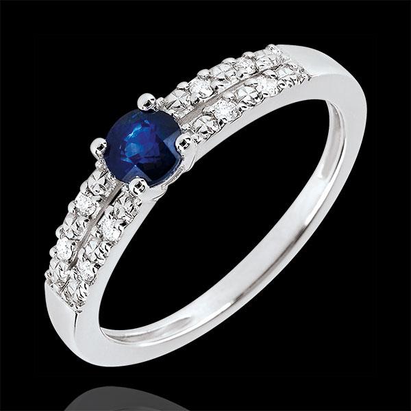 Anello di Fidanzamento Margot - Zaffiro 0.37 carati e Diamanti - Oro bianco 18 carati
