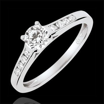 Anello di Fidanzamento Solitario Altezza -Diamante 0.4 carati - Oro bianco 18 carati