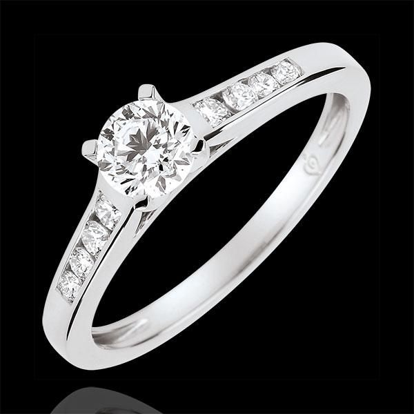 Anello di Fidanzamento Solitario Altezza - Diamante 0.4 carati -Oro bianco 9 carati