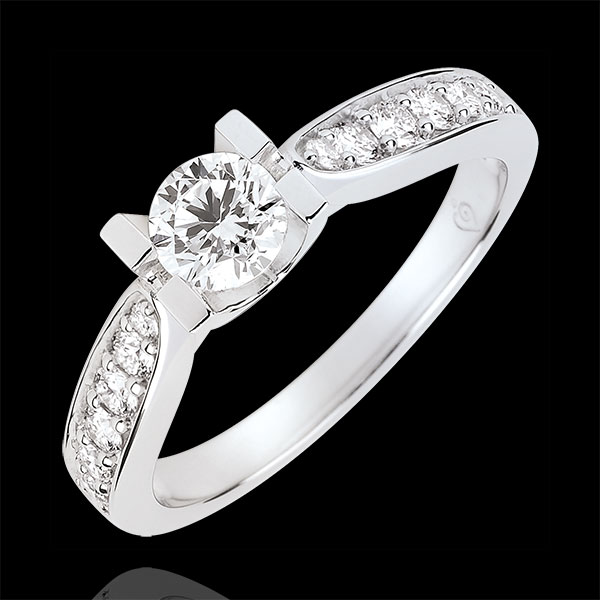 Anello di Fidanzamento Solitario Contessa - Diamante 0.4 carati - Oro bianco 9 carati