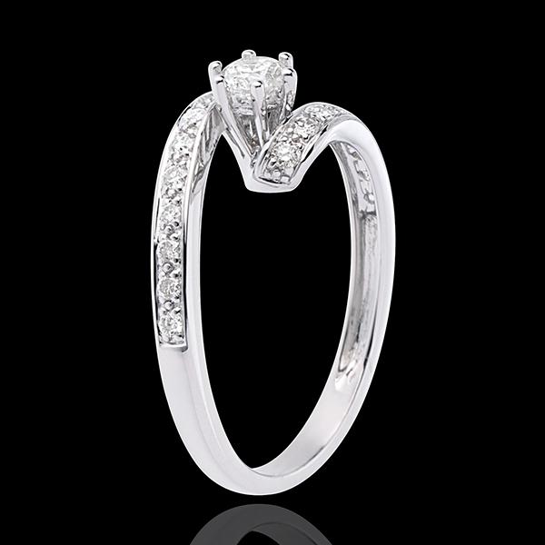 Anello di fidanzamento Solitario Destino - Nefertiti - Oro Bianco - 18 carati - Diamante centrale - 0.27 carati