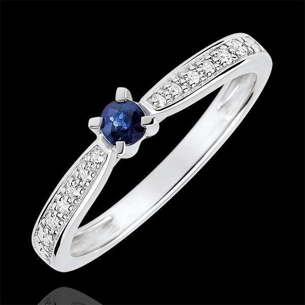 Anello di Fidanzamento Solitario Garlane 4 griffes- Zaffiro 0.14 carati e Diamanti - Oro bianco 9 carati .