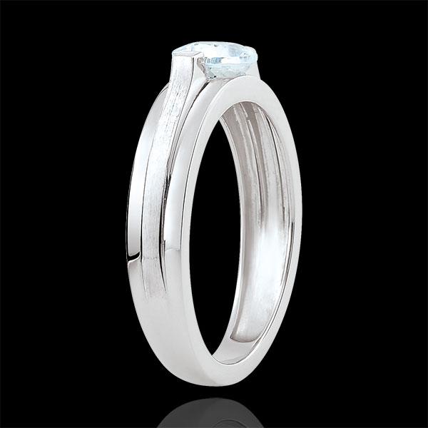 Anello di fidanzamento Vittoria variazione - Aquamarina 0.65 carati - Oro bianco 18 carati