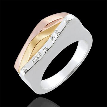 Anello Genesi - Linee Originarie - Oro bianco e Oro giallo - 18 carati - Diamanti