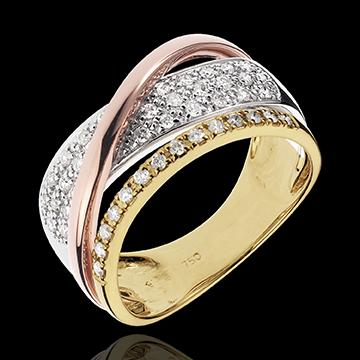 Anello Regale Saturno - 3 Ori - 18 carati - Diamanti - 0.41 carati