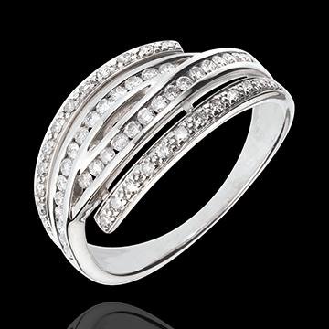 Anello Griffe Dorate - Oro bianco - 18 carati - 54 Diamanti - 0.41 carati