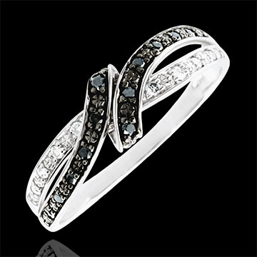 Anello Chiaroscuro - Incontro - Oro bianco - 18 carati - Diamanti bianchi e diamanti neri