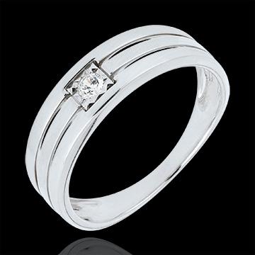 Anello Tripla fila - Oro bianco - 9 carati - Diamante
