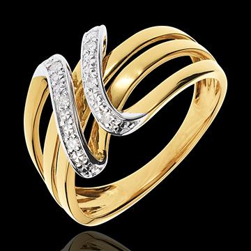 Anello Chiave di Do - Oro giallo e Oro bianco - 18 carati - 6 Diamanti