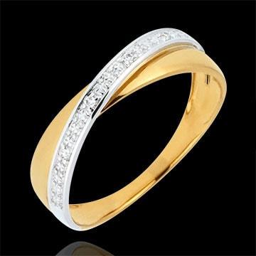 Fede Saturno Duetto - Oro giallo e Oro bianco - 9 carati - Diamanti