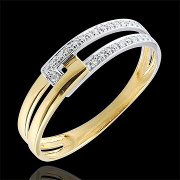 Anello Unione Tandem bicolore - Oro giallo e Oro bianco - 9 carati - 6 Diamanti