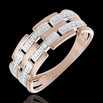 Anello Oro rosa - Oro rosa e Oro bianco - 18 carati - 6 Diamanti
