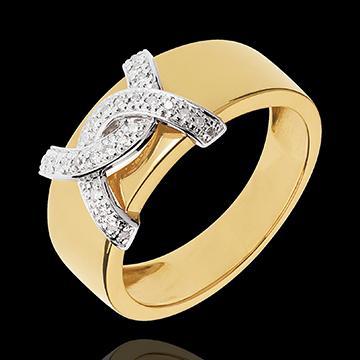 Anello Doppio io - Oro bianco e Oro giallo - 18 carati - 28 Diamanti - 0.11 carati