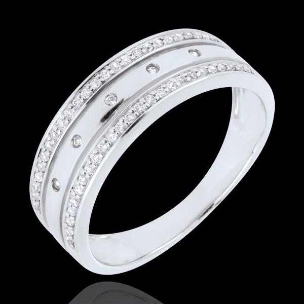 Anello Fantasmagoria - COrona Stellare - modello grande - Oro bianco - 9 carati - 55 Diamanti - 0.18 carati
