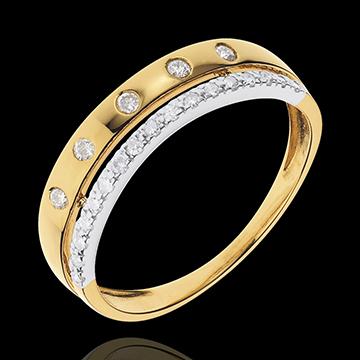 Anello Fantasmagoria - COrona Stellare - modello piccolo - Oro giallo e Oro bianco - 18 carati - 22 diamanti - 0.17 carati