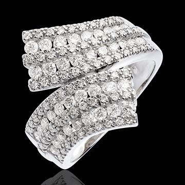 Anello Fantasmagoria - Sciarpa pavé - Oro bianco - 18 carati - 108 diamanti - 1.1 carati