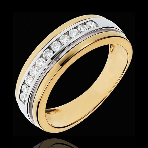 Anello Fantasmagoria - Solare - Oro giallo e Oro bianco - 18 carati - 11 Diamanti - 0.24 carati