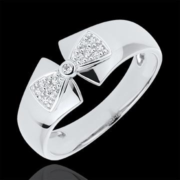 Anello Fiocco Amelie - Oro bianco - 9 carati - 2 Diamanti
