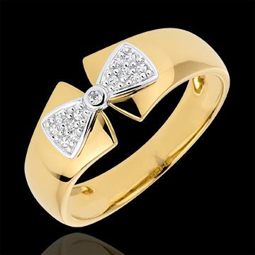 Anello Fiocco Amelie - Oro giallo e Oro bianco - 9 carati - 3 Diamanti