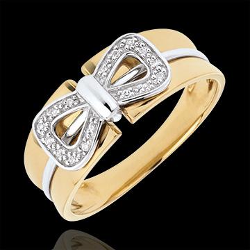 Anello Fiocco Corsetto - Oro giallo e Oro bianco - 18 carati - 16 Diamanti