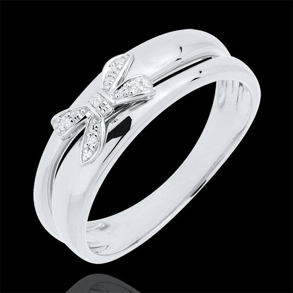 Anello Fiocco dell'Eden - Oro bianco - 18 carati - 5 Diamanti