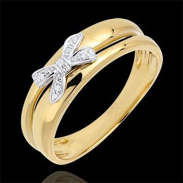 Anello Fiocco dell'Eden - Oro giallo - 18 carati - 5 Diamanti