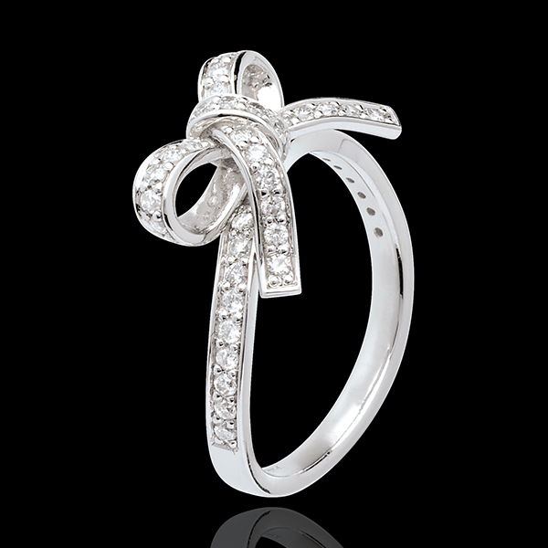 Anello Fiocco diamanti - Oro bianco - 18 carati - Diamante - 0.423 carati