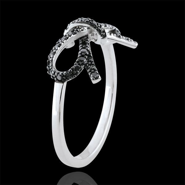 Anello Fiocco Finezza - Argento - 27 Diamanti neri - 0.135 carati