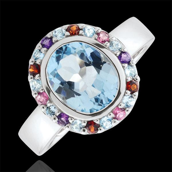 Anello Fiore dell'Eden - Argento e Pietre dure - 2.85 carati