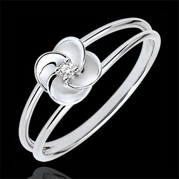 Anello Sboccio - Prima rosa - Oro bianco e Diamante - 9 carati