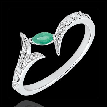 Anello Foresta Misteriosa - modello piccolo - Oro bianco e Smeraldo navetta - 9 carati