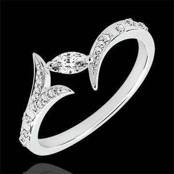 Anello Foresta Misteriosa - modello piccolo - Oro bianco e Diamante navetta - 9 carati
