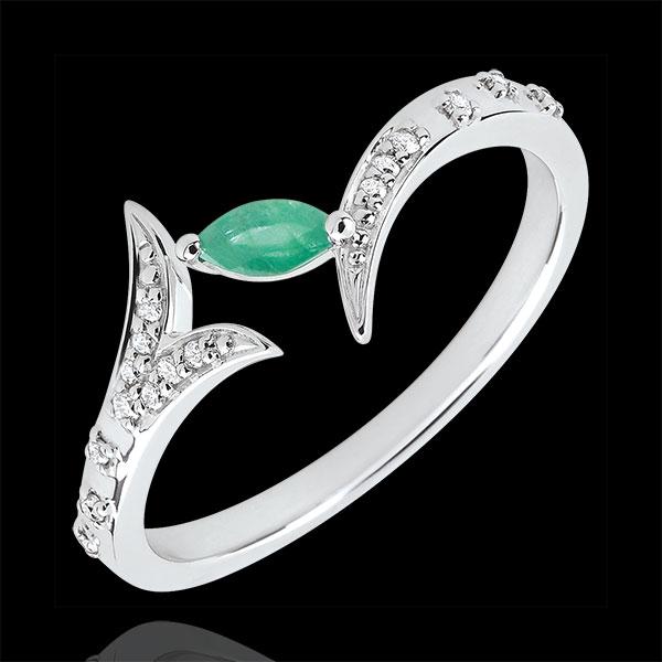 Anello Foresta Misteriosa - modello piccolo - Oro bianco e Smeraldo navetta - 18 carati