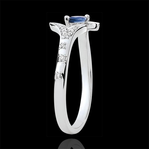Anello Foresta Misteriosa - modello piccolo - Oro bianco e Zaffiro navetta - 9 carati