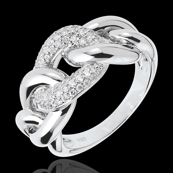 Anello Forza d'Amore - Oro bianco - 18 carati - 52 Diamanti - 0.37 carati