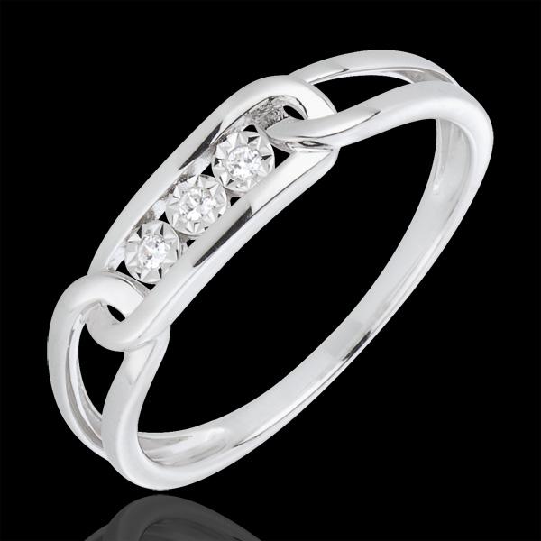Anello Forza Diamanti - Oro bianco - 18 carati - 3 Diamanti