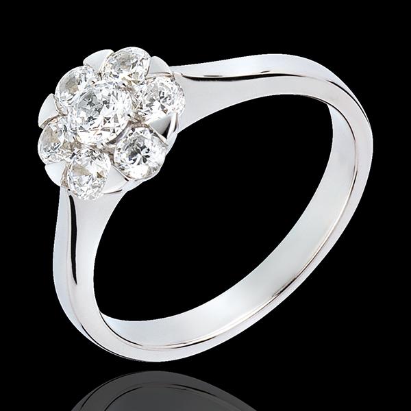 Anello Freschezza - Magnolia - Oro bianco - 18 carati - 7 diamanti - 0.88 carati