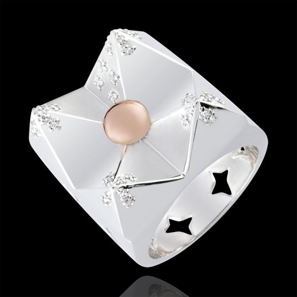 Anello Genesi - Montagna di Cristallo - Oro bianco e Oro giallo - 18 carati - Diamanti