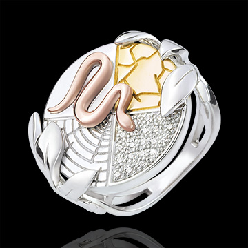 Anello Genesi - Spirito della Terra - Oro bianco e Oro giallo - 9 carati - Diamanti