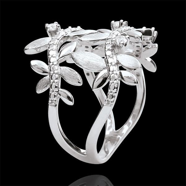 Anello Giardino Incantato - Fogliame Reale Doppio - Diamanti e Oro bianco - 9 carati